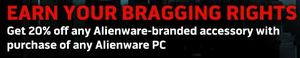 20% Off Alienware-branded accessories with purchase of any Alienware Laptop or Desktop