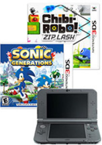 Nintendo New 3DS XL - Black + Chibi-Robo! Zip Lash + Sonic Generations (Pre-owned)