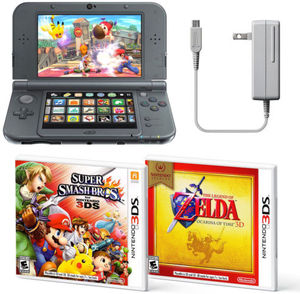 New Nintendo 3DS XL Bundle Super Smash Bros + Ocarina of Time 3D + AC Adapter
