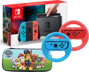 Nintendo Switch (Neon Joy-Con) + Mario Kart 8 + Joy-Con Wireless Wheels
